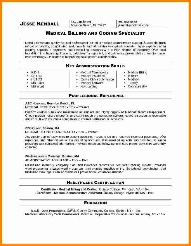 Certified Coding Specialist Resume Example Luxury 7 Medical Billing and Coding Resume