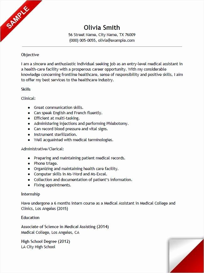 Lab assistant Job Description Resume Elegant Entry Level Medical assistant Resume with No Experience
