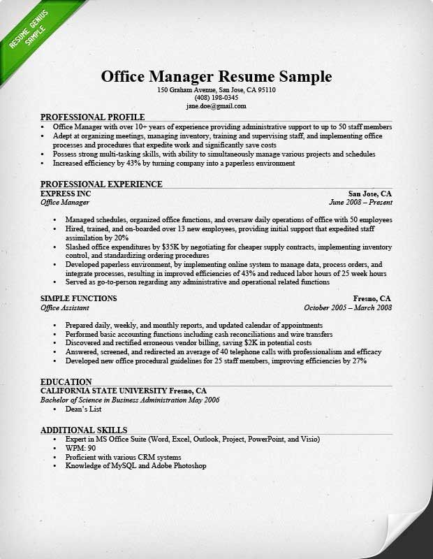 Sample fice Manager Resume Popular Fice Manager Resume Sample & Tips 27 Proper Sampl