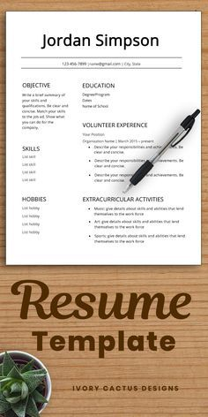 First CV Template resume teenagers no experience high school student resume one page resume template Word teens first job Jordan