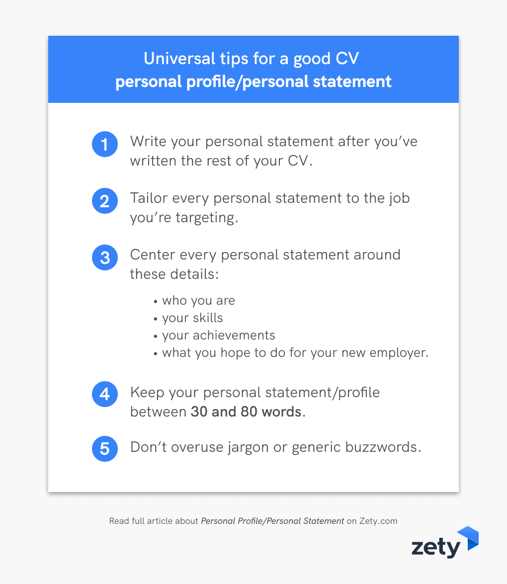 Universal Tips For A Good CV Personal Profile Personal Statement