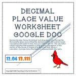 Place Value Worksheets 4th Grade Pdf Of Decimal Place Value Worksheet or Google Doc for Distance Learning