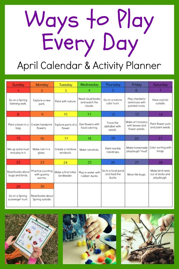 Ways to Play Every Day April Activity Calendar for Preschoolers • The Preschool Toolbox Blog