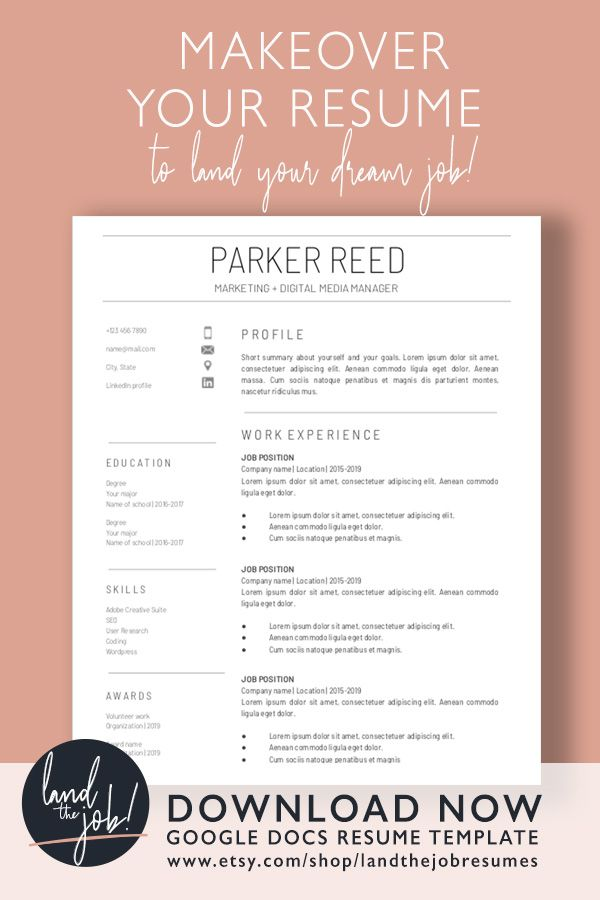 Google Docs Resume Template Instant Download Modern 1 2 Page Resume Cover Letter References