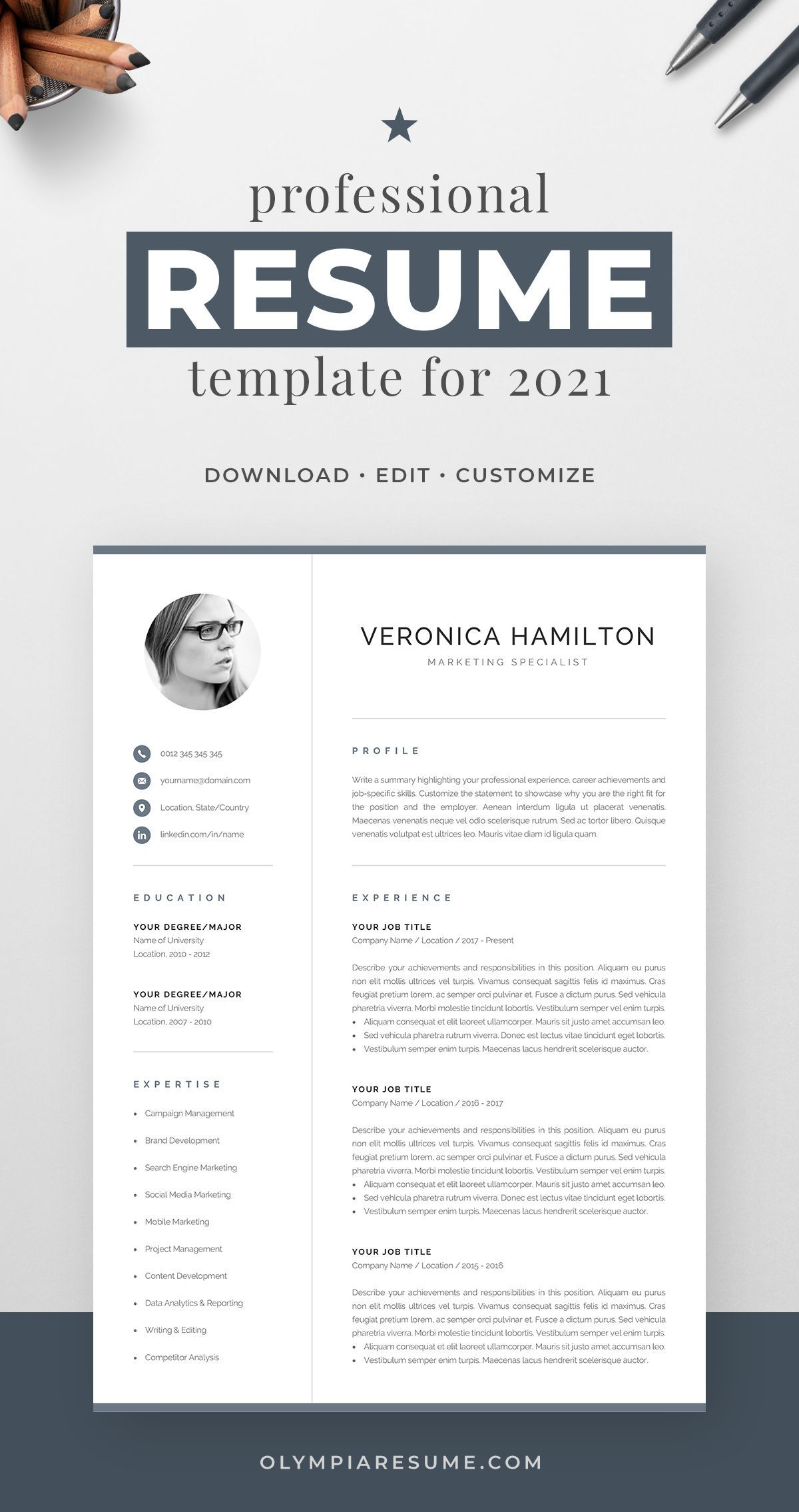 Professional Resume Template for 2021 Modern CV Template with