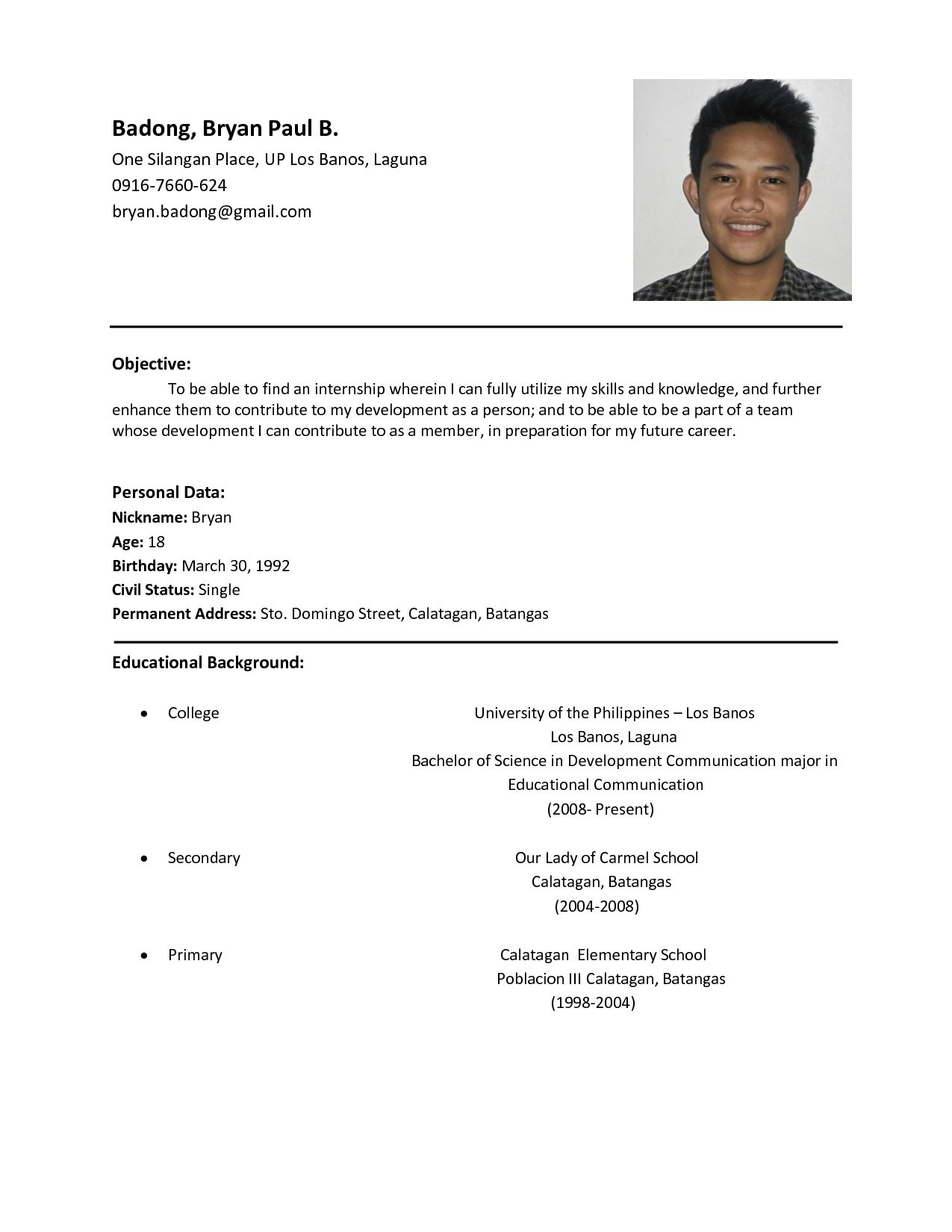Resume Format Examples For Job examples format resume