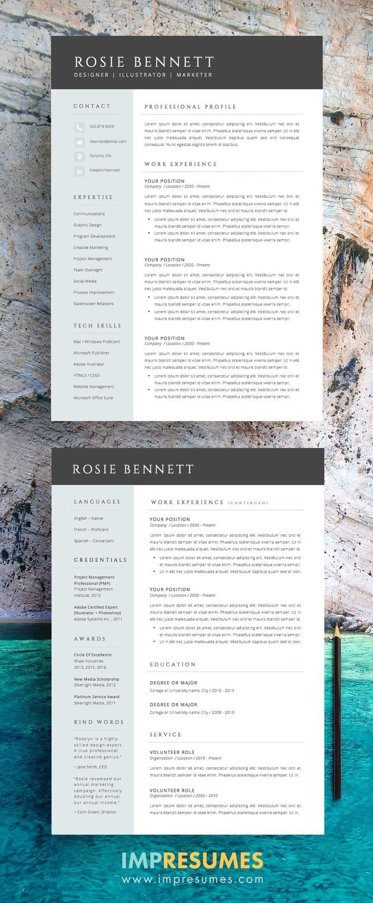 4 Page Resume Template Package For Word The Rosie
