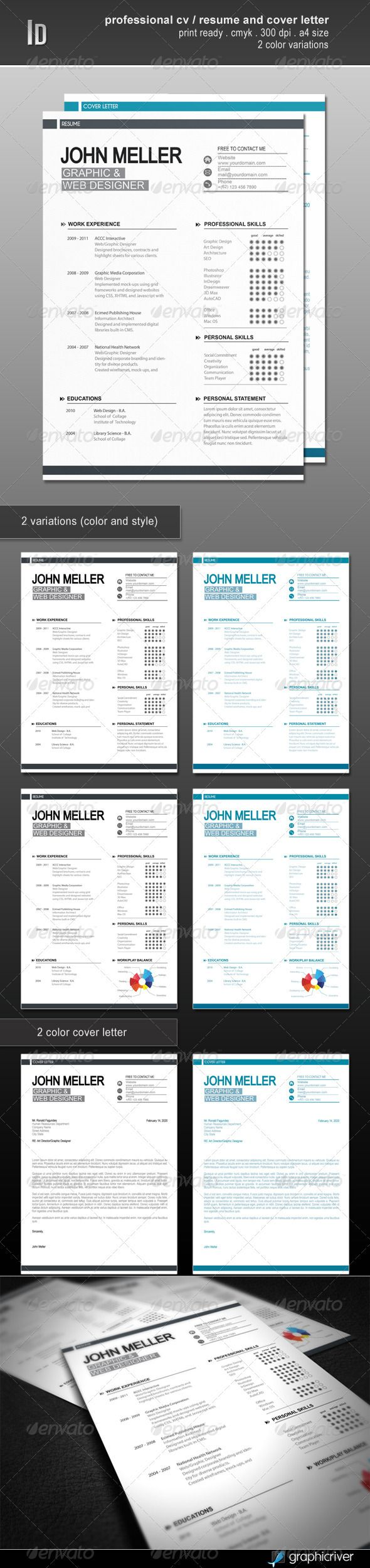 Professional Cv Resume And Cover Letter GraphicRiver Item for Sale