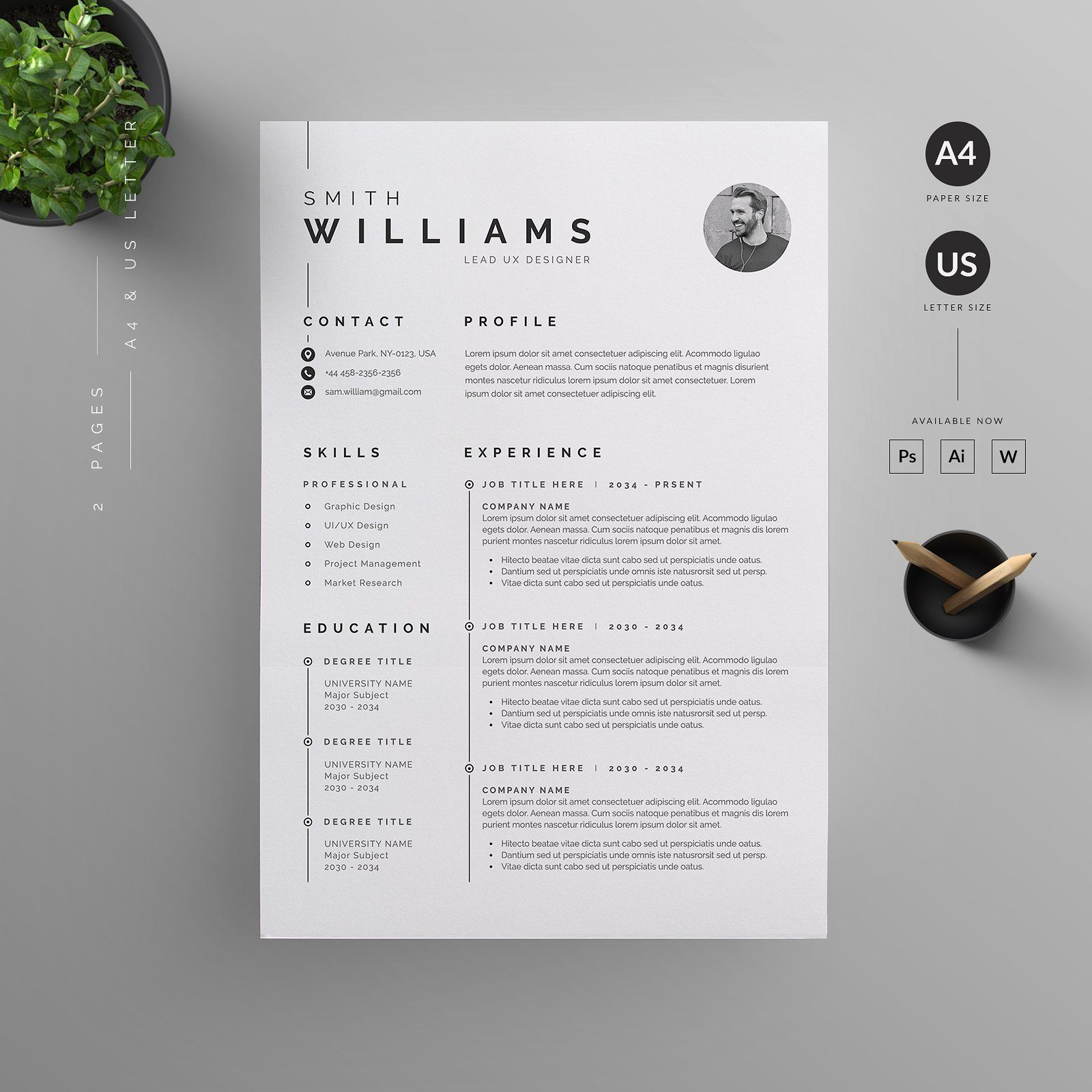 Resume CV Template Clean Modern and Professional Resume and Letterhead design Fully customizable easy to use and replace color & text Give an employer a great first impression and help you land your dream job resume branding job application cv portfolio minimal
