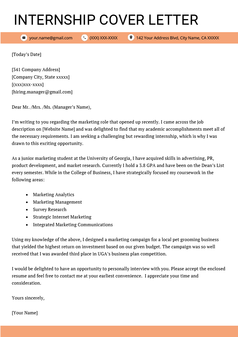Cover Letter for Internship Example [ 4 Key Writing Tips]