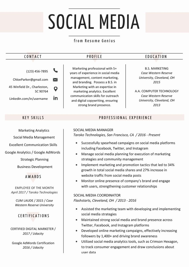 Digital Marketing Manager Resume Luxury social Media Resume Example & Writing Tips