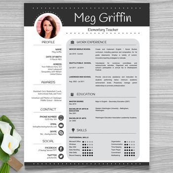 Teacher Resume Template Cover Letter References Black PowerPoint EDITABLE