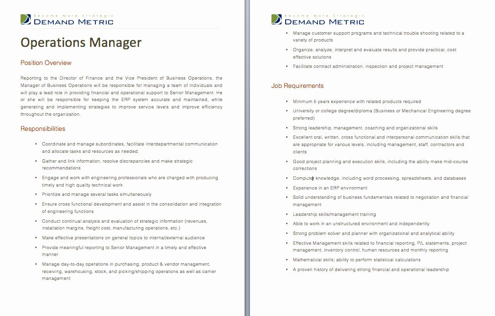 Project Manager Job Description Resume Lovely Operations Mgr Job Description Job Descriptions