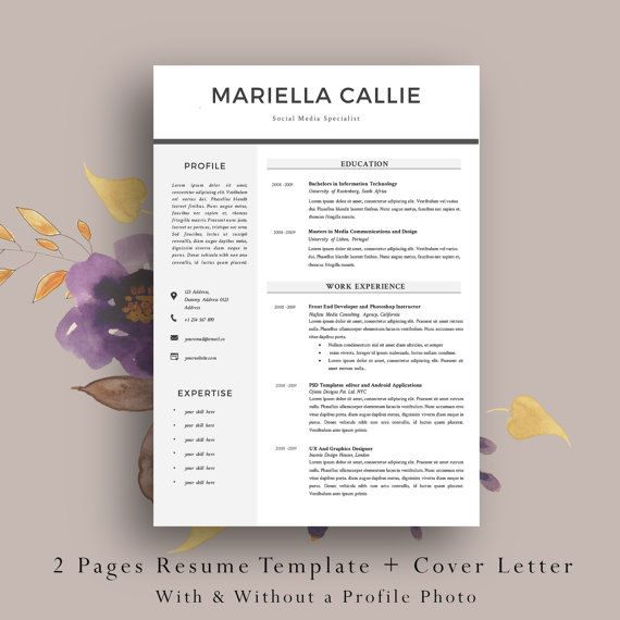 2 Page Resume Template Cv Template Cover Letter Professional Resume Template Simple and Clean Resume Template With & Without