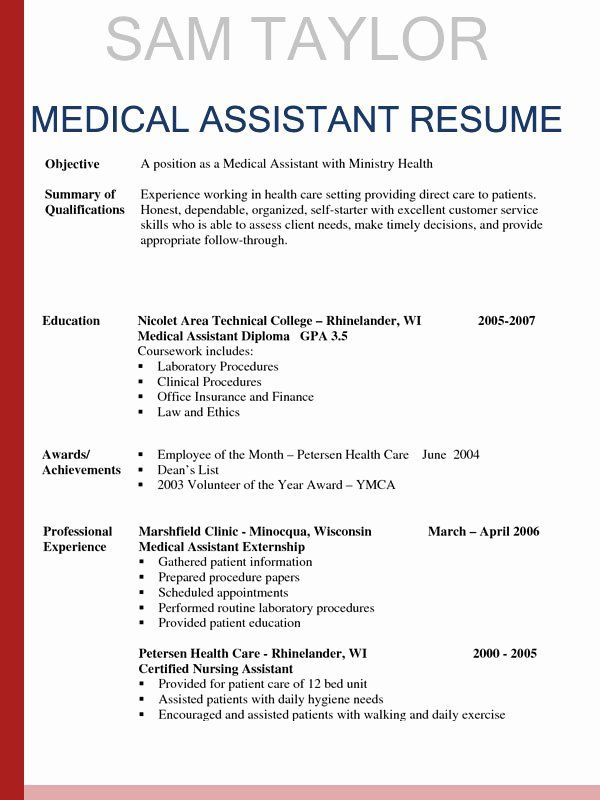 Free Medical assistant Resume Templates Inspirational How to Write A Medical assistant Resume In 2016