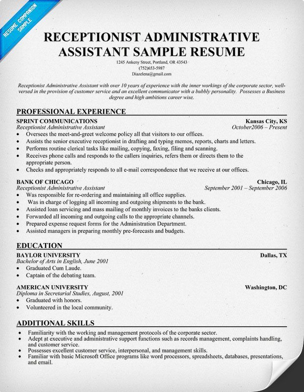 Free Resume Templates For Receptionist Position Resume Examples