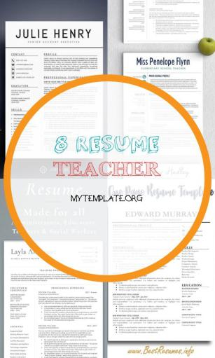 8 Resume Teacher Free Templates
