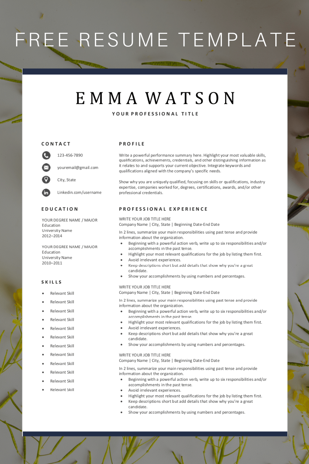 Are you looking for a free editable resume template Sign up for our job search tips and this template for free You can easily adjust it in Microsoft Word resumetemplate resume jobsearch jobhunt freeresume