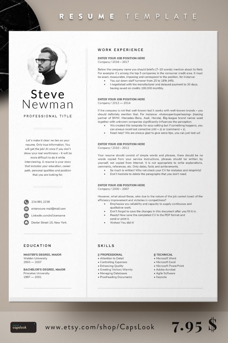 1 page resume with photo