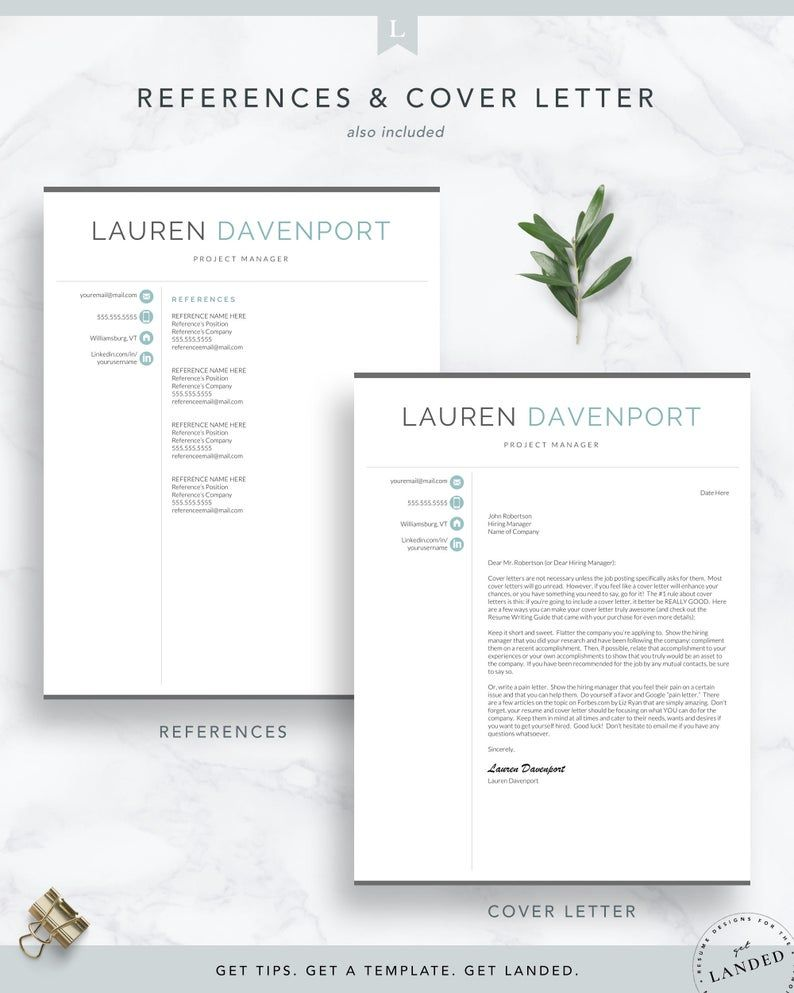 Resume Template for Word & Pages CV Template Modern Resume Template Instant Download Executive Resume Template Marketing Resume