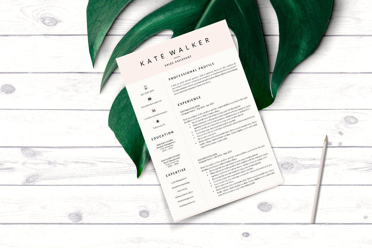 Ad Sales Resume Cover Letter format by HIRED Design Studio on creativemarket ★★★★★ Wel e to Hired Design Studio R10 KATE WALKER
