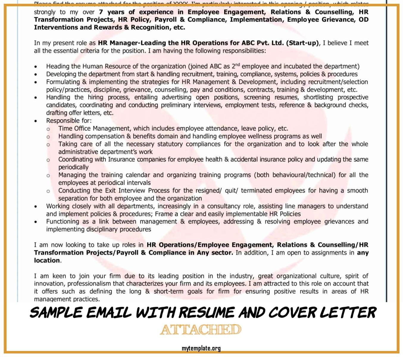 8 Sample Email With Resume And Cover Letter Attached Free Templates