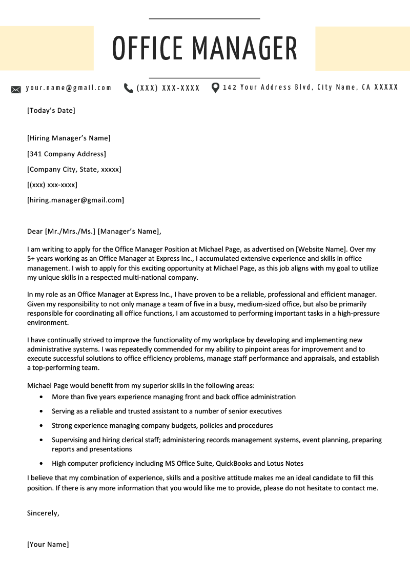 fice Manager Cover Letter Example & Writing Tips
