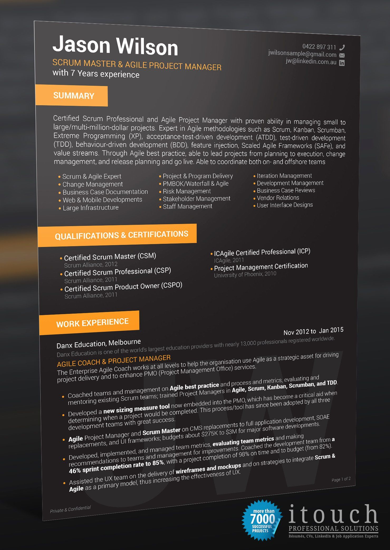 Scrum Master Resume Examples Beautiful It Scrum Master Itouch Resume Writers