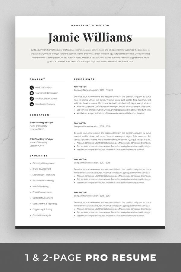 Resume Template Resume Template Word Resume With Picture CV CV Template Resume with Cover Lette