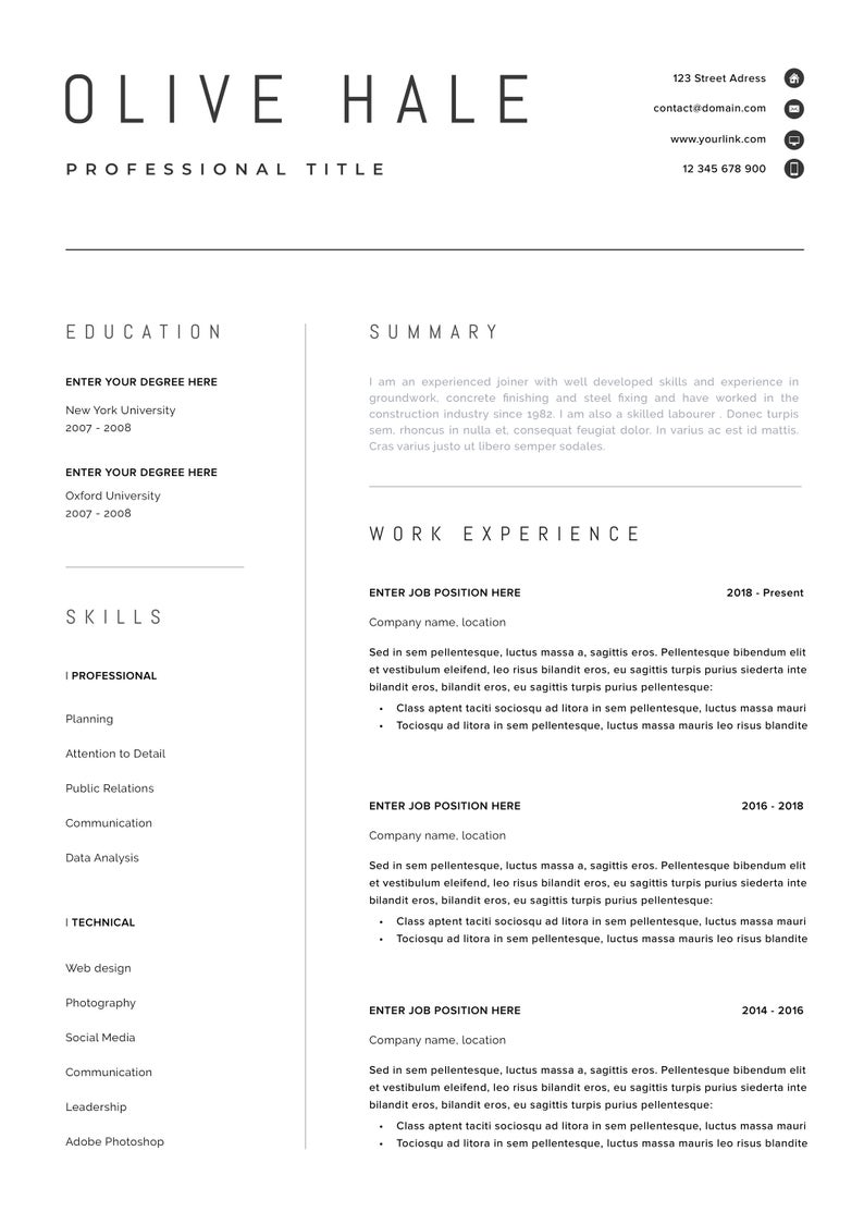"""Professional Resume Template Clean & Modern Resume Template e page resume Instant Download Resume CV Template for Word """"San Diego"""""""