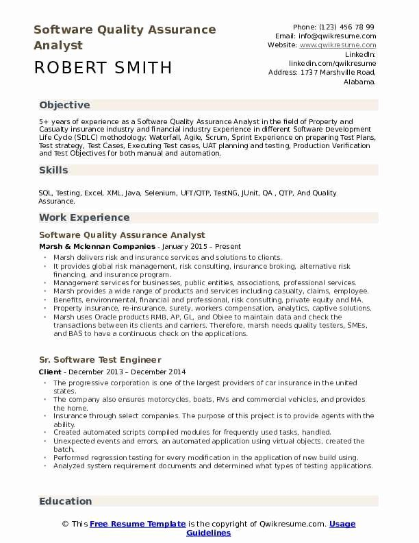 Software Testing Resume 5 Years Experience Unique software Quality assurance Analyst Resume Samples