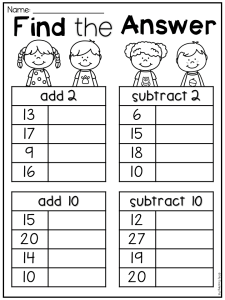 Subtraction Worksheets for Grade 1 Of First Grade Addition and Subtraction Worksheet for First Grade Students Add 2 Subtract 2 Add 10 and Subtract 10