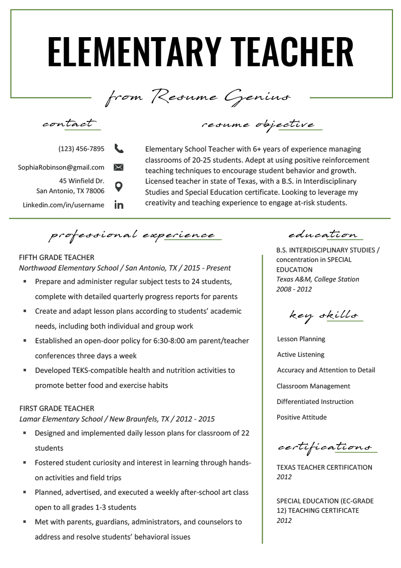 Elementary Teacher Resume Samples & Writing Guide Resume Genius Resume skills list Learn the best Writing Interview Products Letters Articles Cv Template Ideas & Words Tips from Website Elementary Teacher Resume Samples & Writing Guide