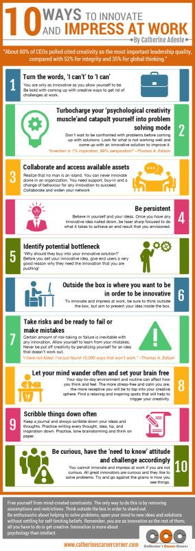 10 Ways to Innovate and Impress at Work Infographic Catherine s Career Corner