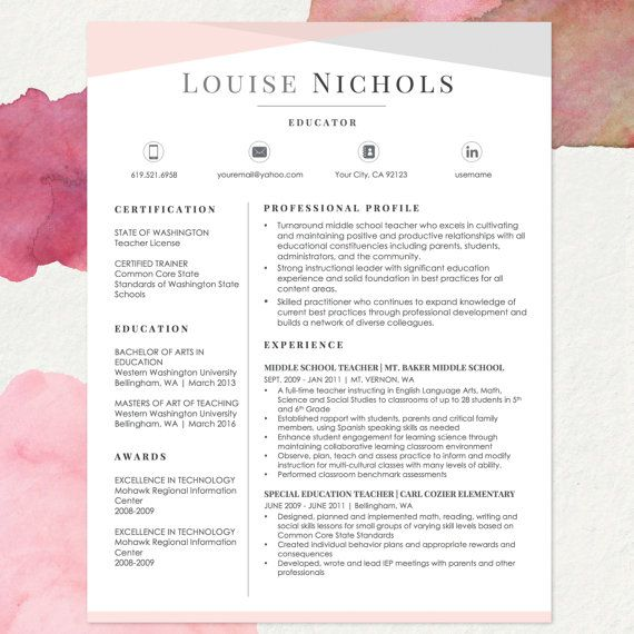 TEACHER Resume Template for MS Word and Apple Pages 1 2 & 3 Page Resume Cover Letter Reference Sheet Cover Letter