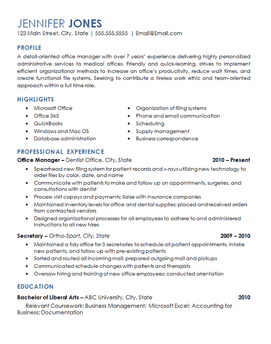 View the resume for an office management professional with experience overseeing daily operations of a dental office and medical facility