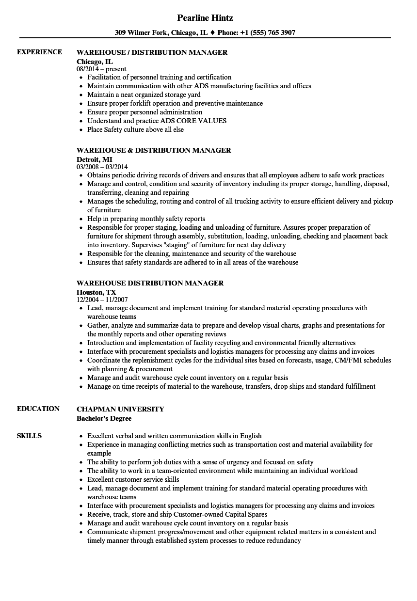 Warehouse Distribution Manager Resume Samples Velvet Jobs Great Warehouse Distribution Manager Resume Samples Velvet Jobs Warehouse Manager Resume Sample It is well known that Warehouse Distribution Manager Resume Samples Velvet Jobs are most important documents when you are searching for the job opportunities in any pany Before showing up for the interview a person must send the curriculum vitae to the future employer for proving your aptness After viewing the detailed details if the
