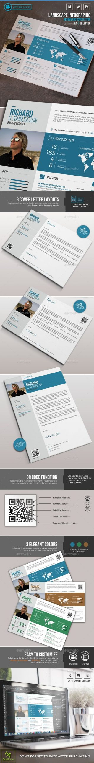 Landscape Infographic Resume Resumes Stationery