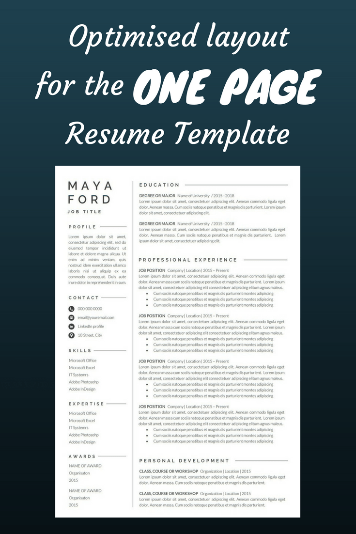 Resume Template e page resume Professional Resume Modern Resume Resume Word CV Template Cover Letter pact resume