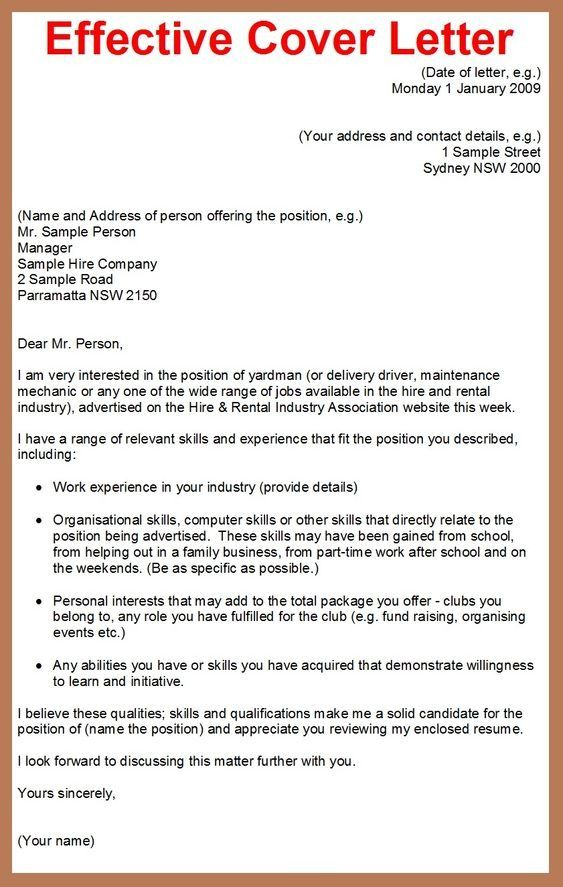 Effective Cover Letter