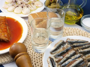 Seafood meze with tsipouro