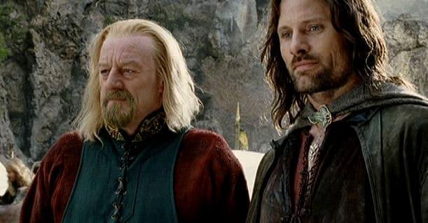 Aragorn mit Theoden am Dimholt