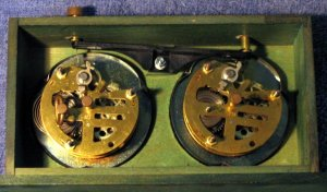 Inside analog chess clock with clocks in place