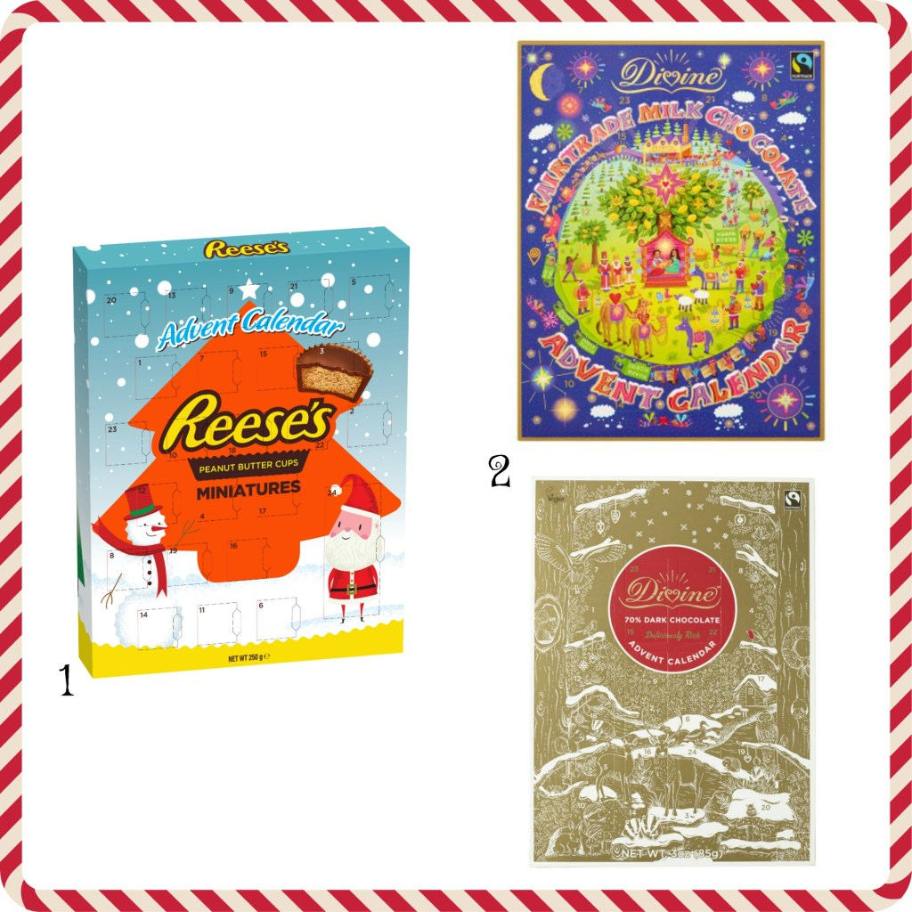 three advent calendars. From left to right Reese's miniture peanut butter cup, divine milk chocolate and divine 70% dark chocolate calendars