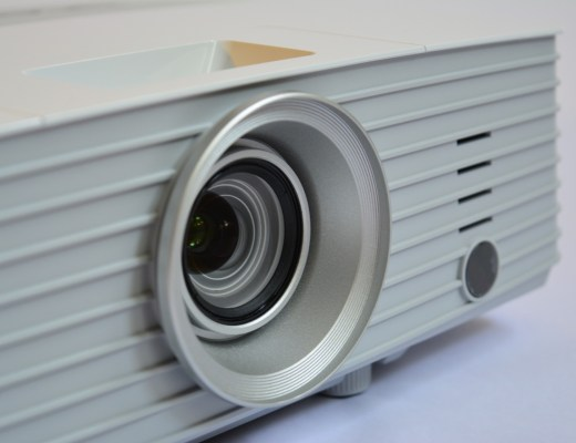 front of a white projector