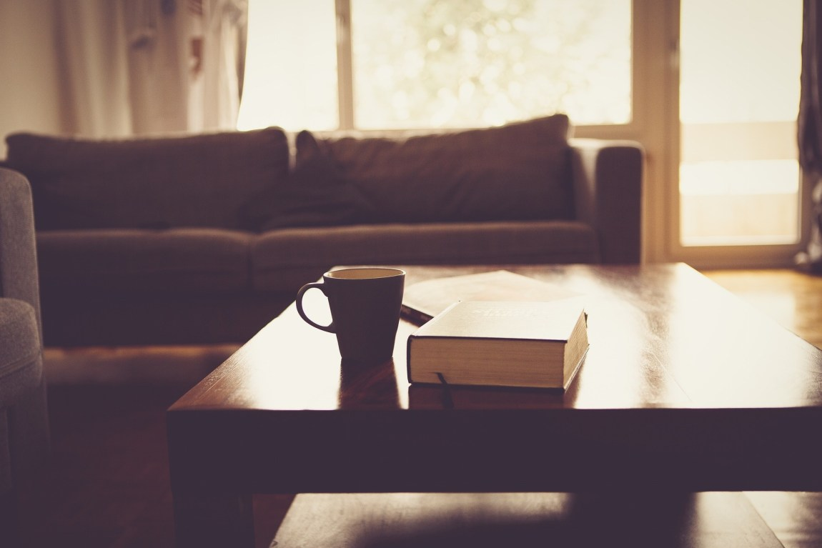 A cozy living room consisting of a brown sofa and coffee table with book and coffee cup on it