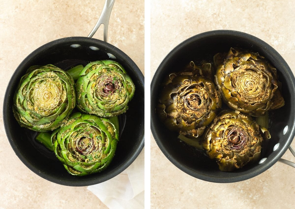 Side by side photos of Italian Stuffed Artichokes in a pot before and after cooking.