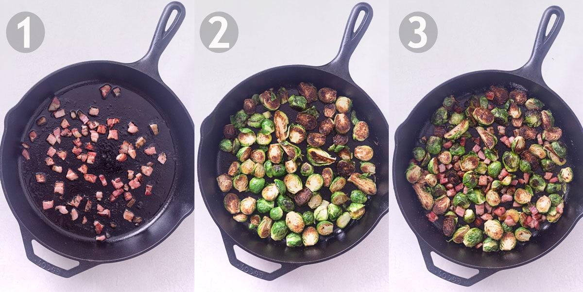 3 step by step shots of cooking brussels sprouts with pancetta in a cast iron pan