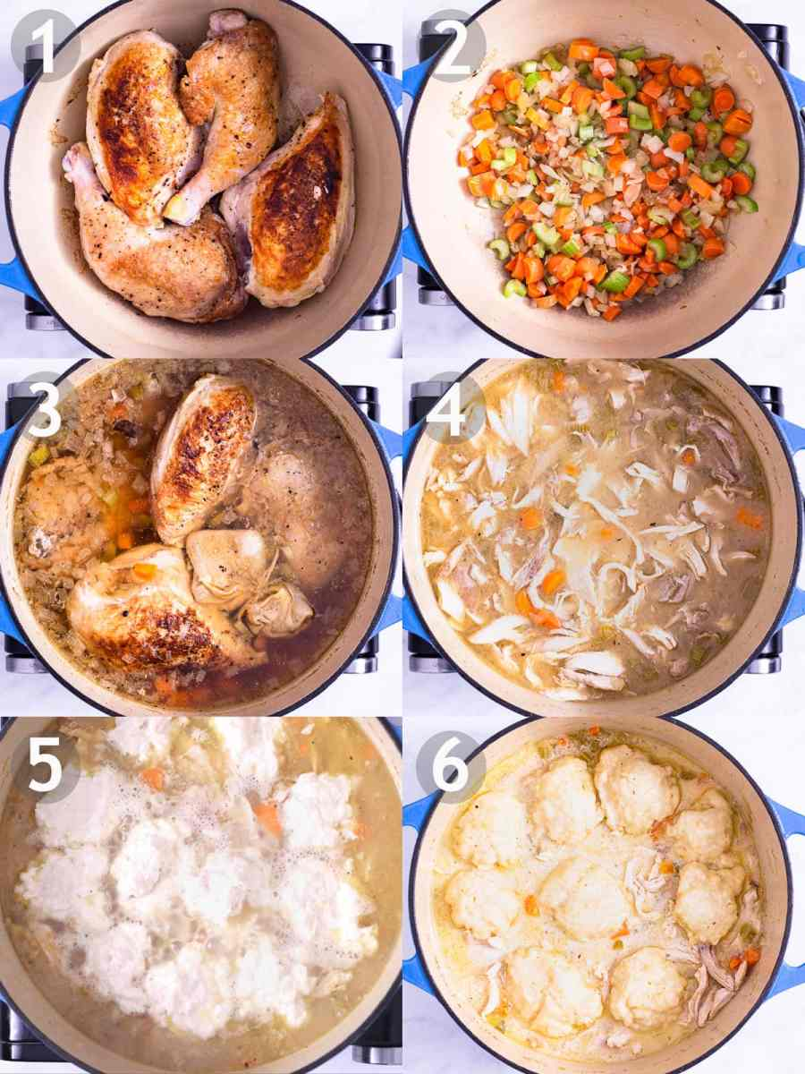 Step by step photos of making Chicken and Dumpling Soup: brown chicken, cook mirepoix and garlic, boil chicken and vegetables, shred chicken, steam dumplings on top of soup.