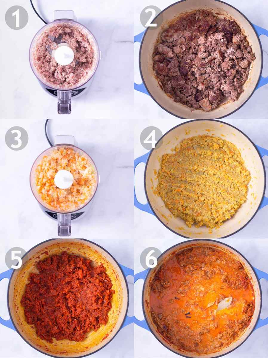 Step by step process of making bolognese sauce: grind pancetta, brown ground pork, beef and pancetta, grind carrots, celery and onion, cook vegetables, add tomato paste, add wine, milk, bay leaves and cloves.